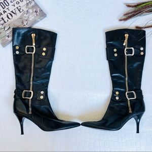 """Guess """"Sofi"""" Gold Zipper and Buckle Leather Boots"""